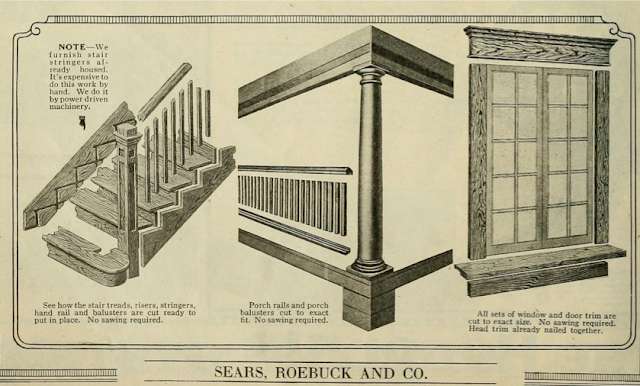 1923 Sears Modern Homes catalog image showing pre-milled staircase pieces