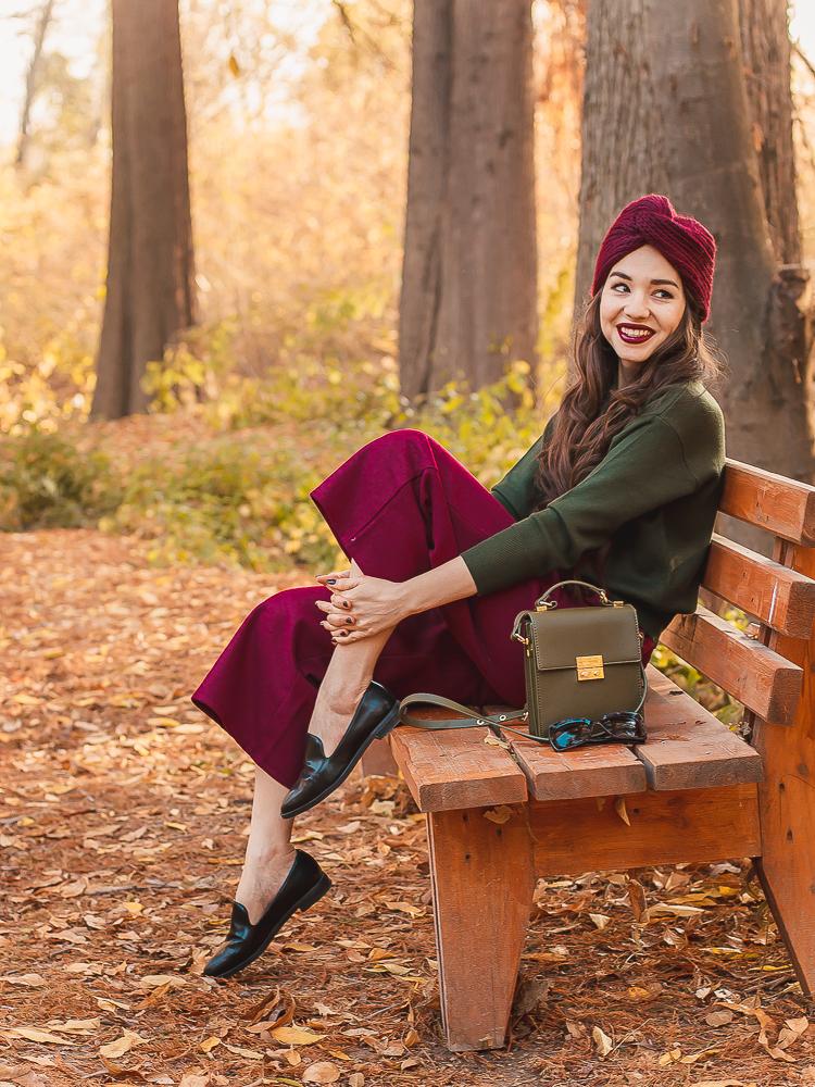 fashion blogger diyorasnotes burgundy culottes shein khaki sweaters shein turban asos autumn outfit fall