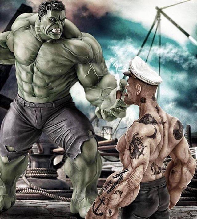 popeye and hulk tattoo