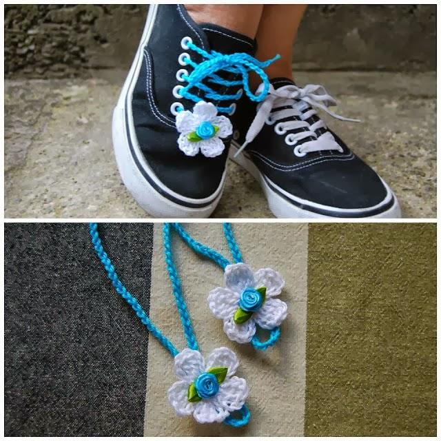 Cordones de Zapatos con Flores de Crochet