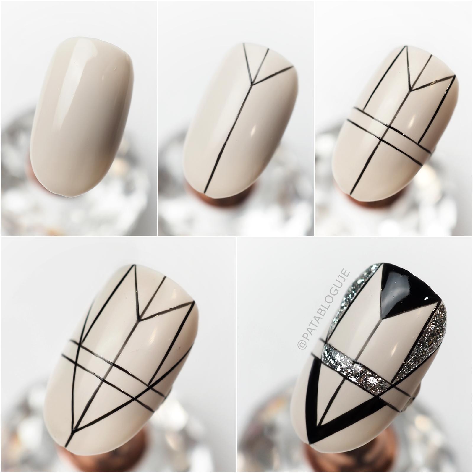 geometryczne zdobienie na paznokciach