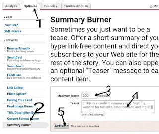 Feedburner feed me summary content kaise show karte hai email dilevery me