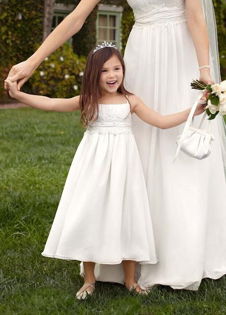 57f35388c7c Flower Girl Dresses - David s Bridal Flower Girl Spaghetti Strap Chiffon  Baby Doll Dress