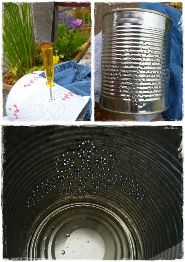 Bildfolge zur Herstellung einer Dosenlaterne aus Konservendosen