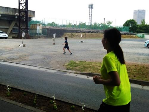 家族3人で初めてジョギング