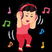 ノリノリで音楽を聴く人のイラスト(女性)