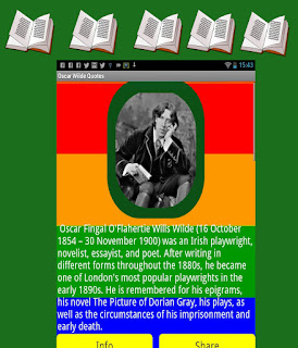 Oscar Wilde Android App - Main Screen of the App