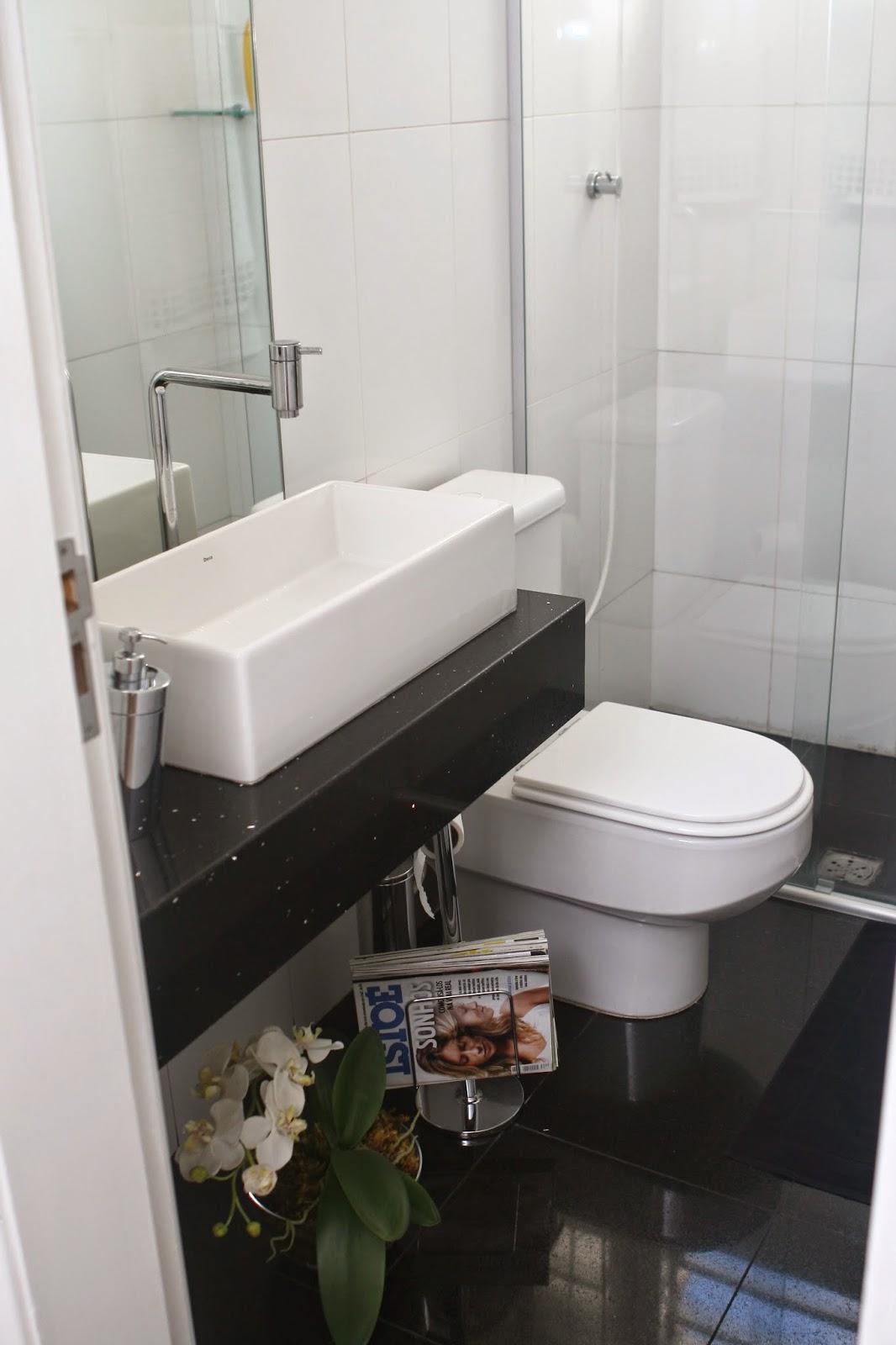 Construindo Minha Casa Clean Banheiros e Lavabos com Bancadas Pretas! Inspir -> Cuba Banheiro Branca