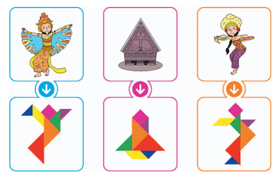 Contoh tangram bentuk keberagaman budaya Indonesia! www.simplenews.me