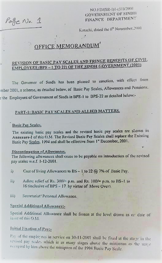 NOTIFICATION REGARDING REVISION OF PAY SCALES AND FRINGE BENEFITS OF CIVIL EMPLOYEES (BPS-1 TO 22) OF THE SINDH GOVERNMENT 2001