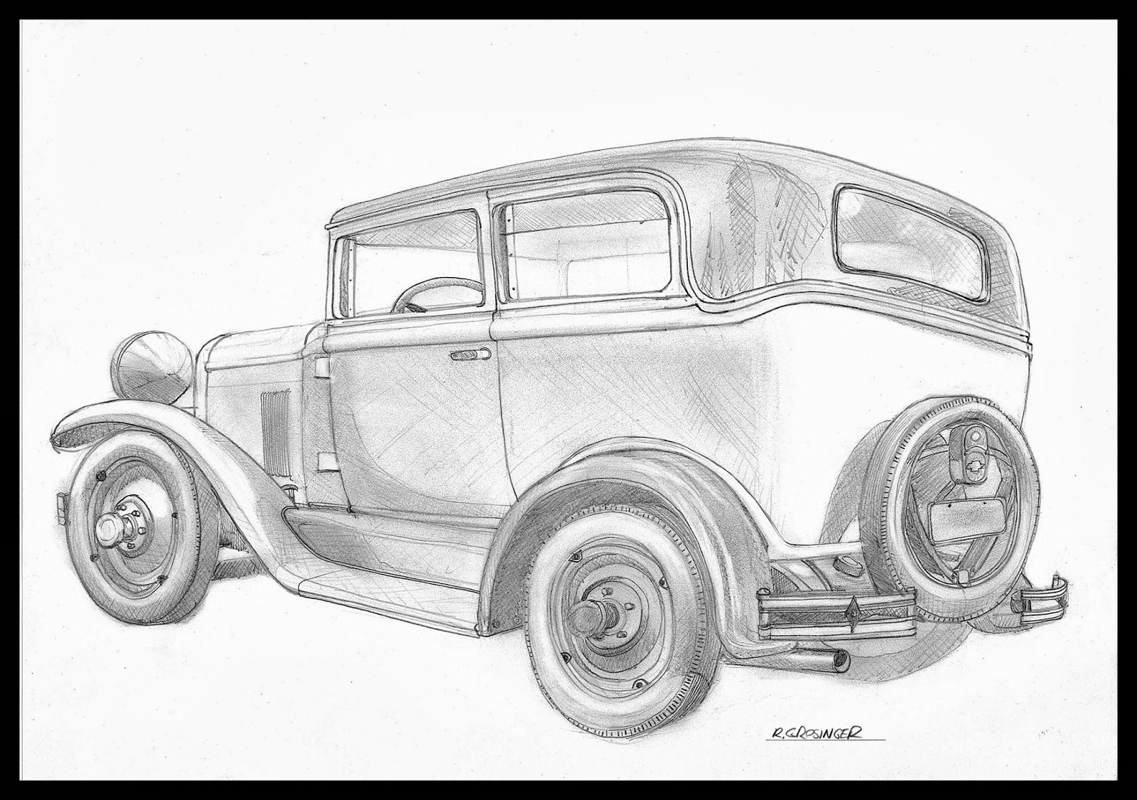 Ron Grosinger S Occasional Car Drawings Drawing Of A 1929 Chevrolet