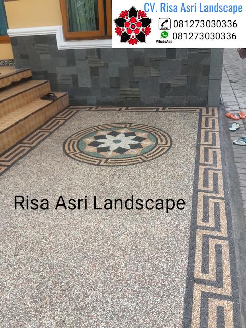 jasa pembuatan batu sikat batu alam, karpot, carport lantai garasi motif batu TUKANG TAMAN SURABAYA - JASA PEMBUATAN PERTAMANAN LANDSCAPE
