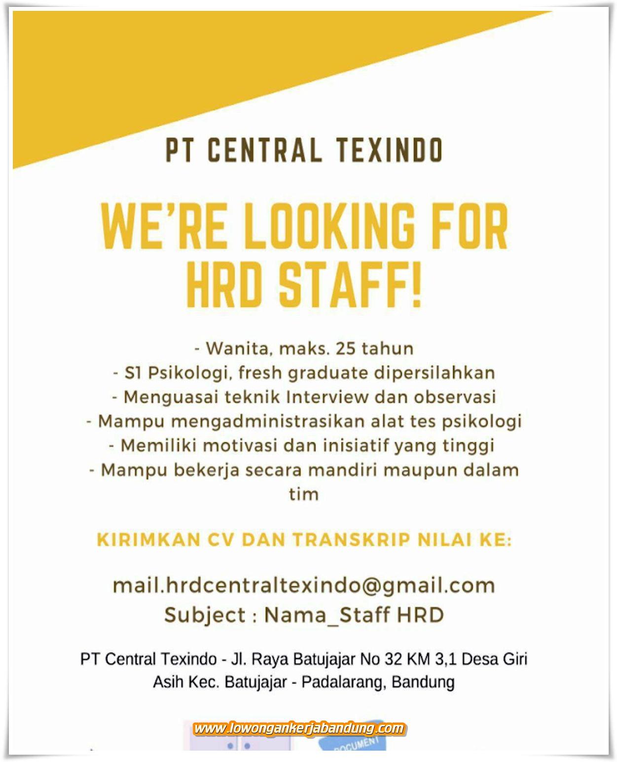 Lowongan Kerja Bandung Staff Hrd Pt Central Texindo