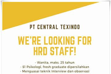Lowongan Kerja Bandung Staff HRD PT. Central Texindo
