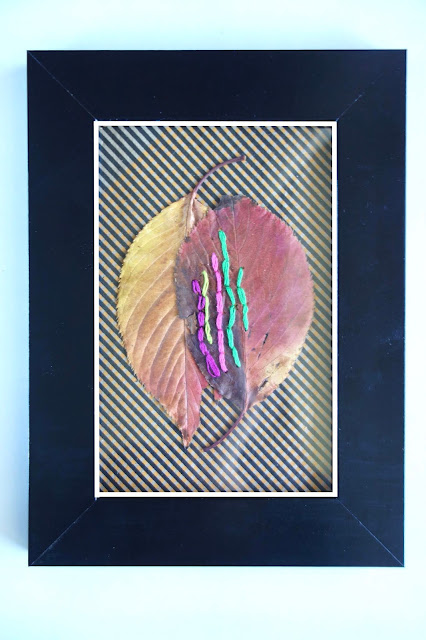 pressed leaves, autumn leaves, leaves, leaf embroidery, nature crafts, sewing crafts, old book, DMC thread, needle and thread, blah to TADA, inexpensive art, framed art, framed leaves