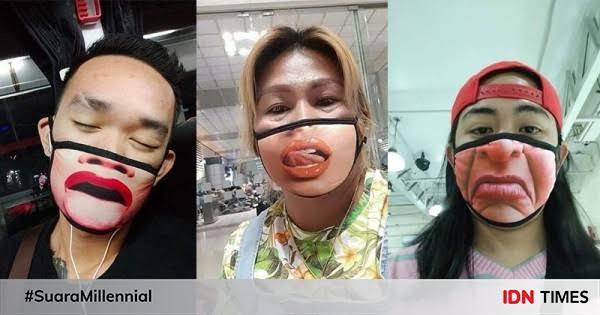 5 Potret Masker Nyeleneh Hasil Modifikasi Warganet, Bikin Tepuk Jidat