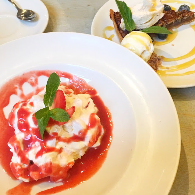 eton mess and pecan pie at bill's restaurant