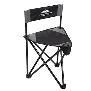 AsterOutdoor Tripod Stool Folding Portable Camp Chair in Black - $19.99 Each