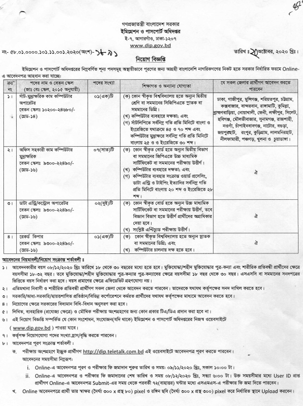 Department of Immigration and Passports Office Job Circular