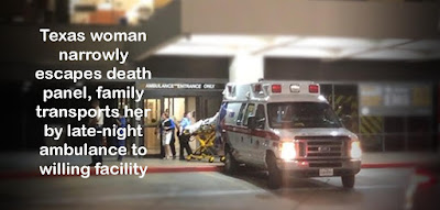 Texas woman narrowly escapes death panel, family transports her by late-night ambulance to willing facility