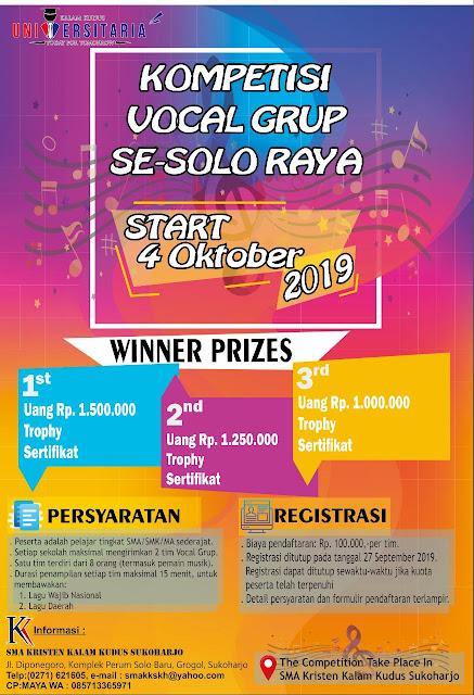 SMA Kalam Kudus Adakan Universitaria 2019 & Kompetisi Vocal Group