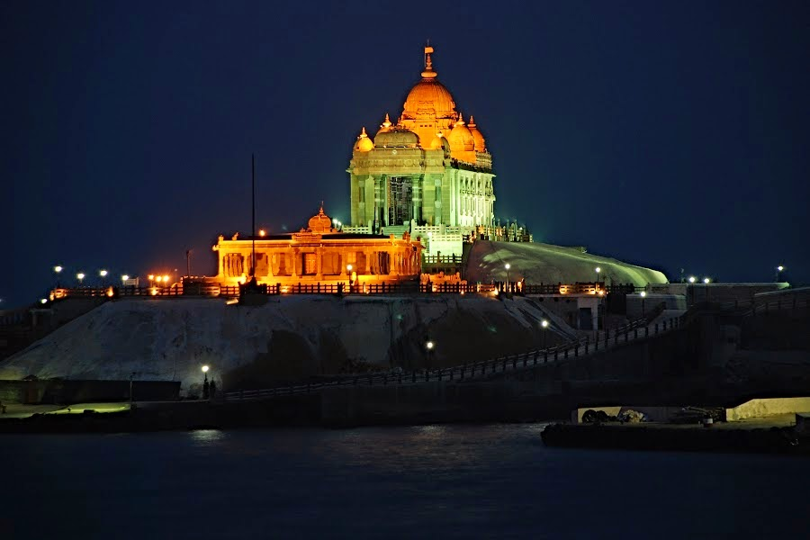Lamplit Vivekanand Rock Memorial in Kanyakumari