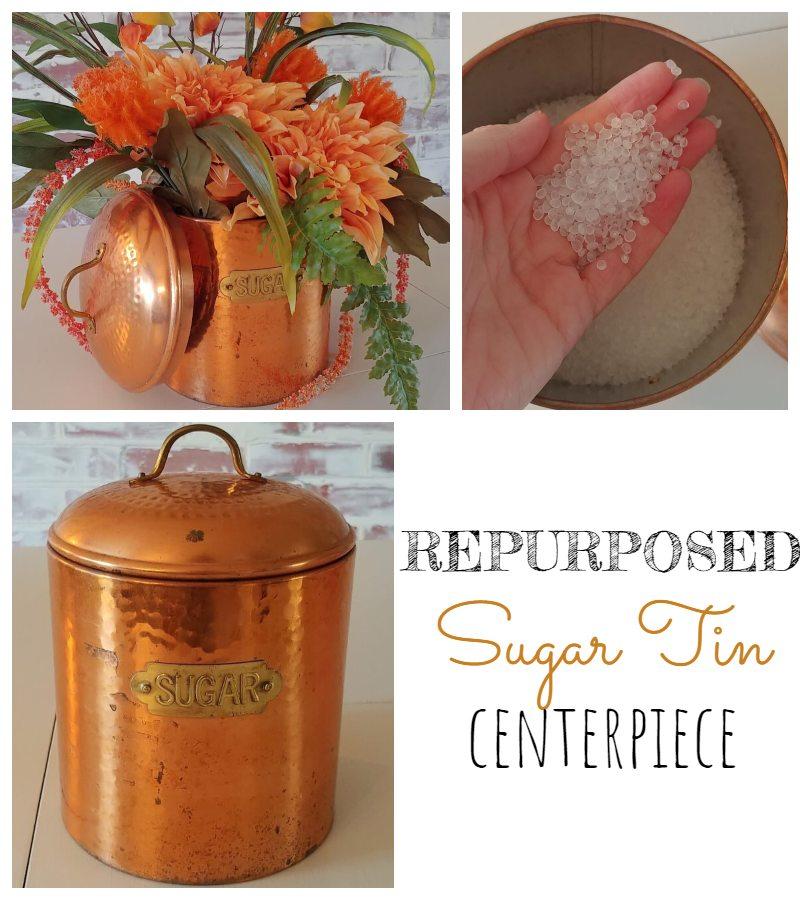 Repurposed Sugar Tin Centerpiece