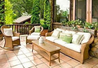 Patio with wicker outdoor furniture