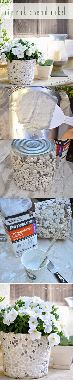 DIY Rock Covered Tin Flower Vase