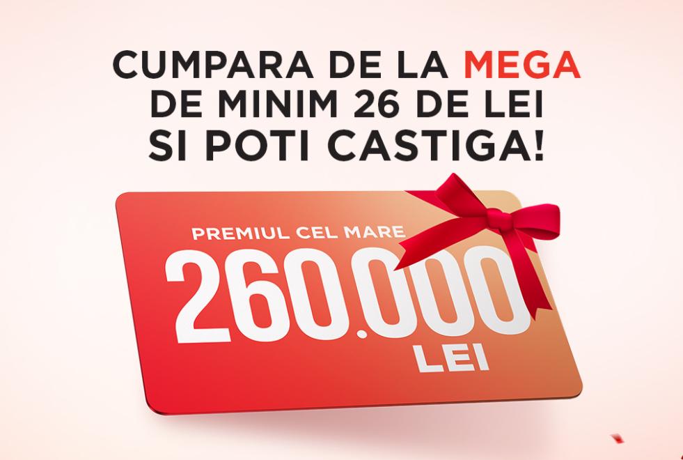 Concurs Mega Image - SARBATORIM IMPREUNA 26 DE ANI - Participa si poti castiga premiul cel mare, in valoare de 260.000 lei sau 500 de premii ce constau in vouchere de cumparaturi, in valoare de 100 lei fiecare - tombola - concursuri - online - castiga.net