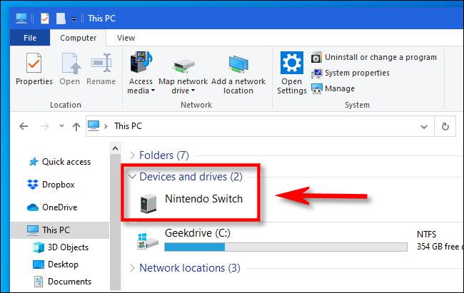 في مستكشف ملفات Windows ، حدد موقع Nintendo Switch وافتحه.