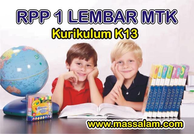 RPP SD/MI 1 Lembar 2020 Matematika Kelas 4