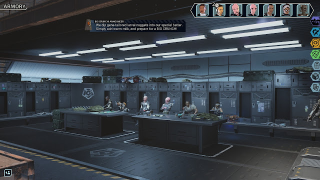 Screenshot from XCOM: Chimera Squad with an advertisement for BIG CRUNCH