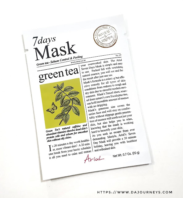 Review ARIUL 7 Day Masks Green Tea