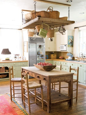 Kitchen Islands With Pots And Pans Rack
