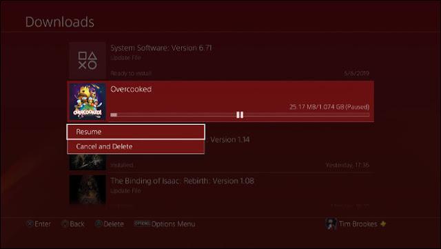 وقفة واستئناف تحميل PS4