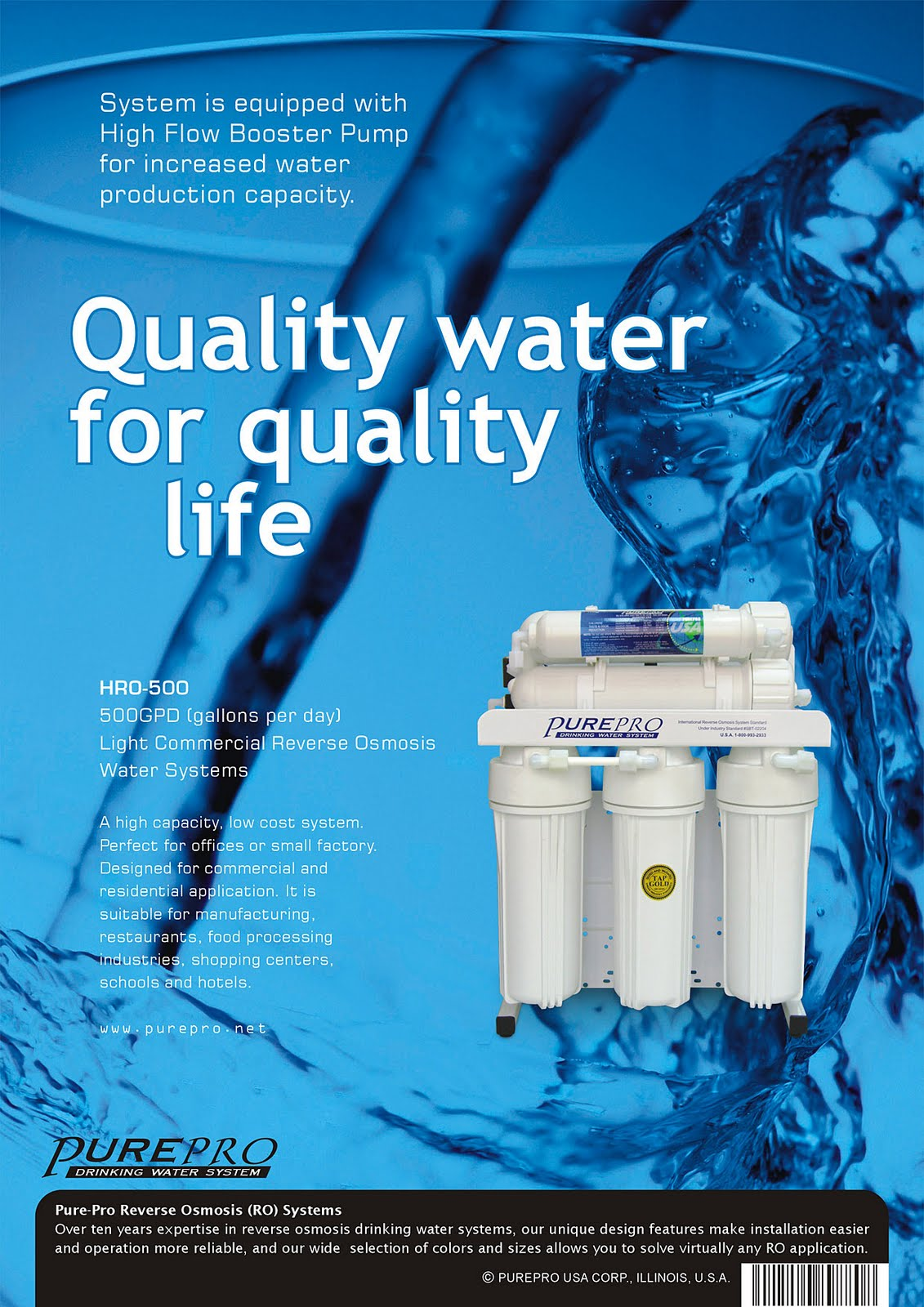 PurePro® HRO500 Light Commercial Reverse Osmosis Water System