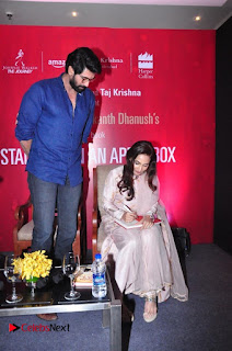 Aiswarya Rajinikanth Dhanush Standing on an Apple Box Launch Stills in Hyderabad  0012.jpg