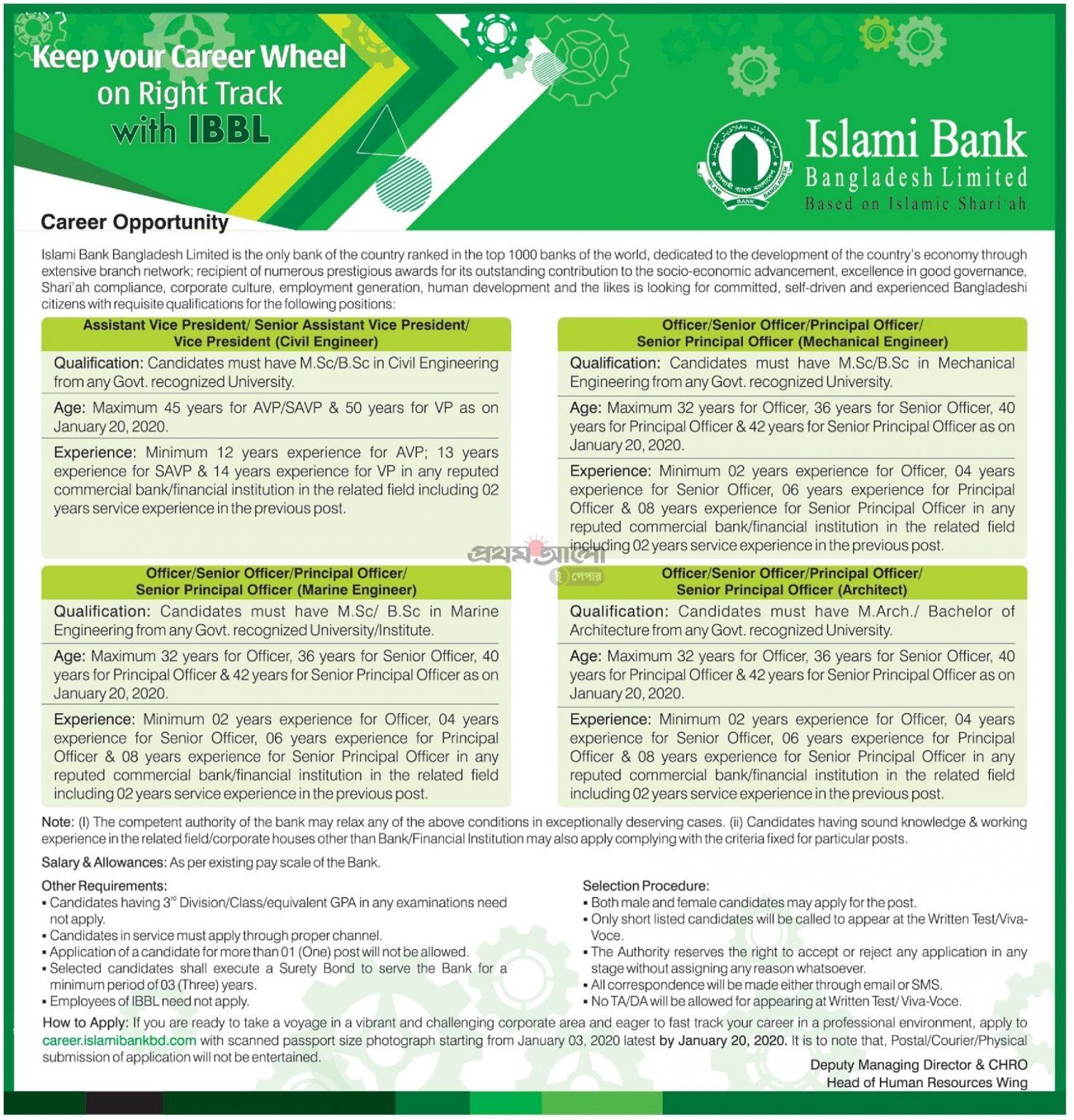 Islami Bank Limited Bangladesh Jobs Circular 2020