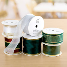 6 reels of Green hue wired ribbon - £6.99 & Free p&p!