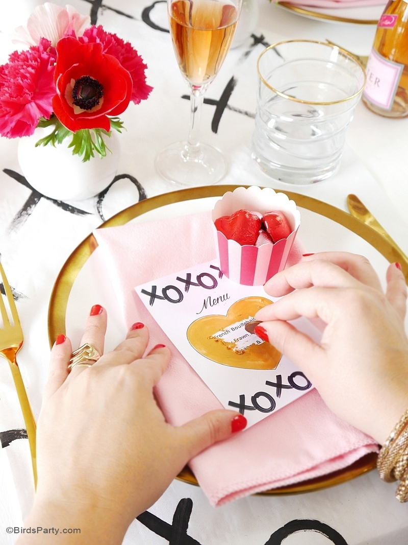 Diy scratch off menu cards with free printables party for Simple valentines day dinner
