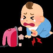 アイロンで火傷をする赤ちゃんのイラスト