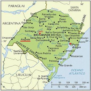 Mapa do RS: Alegrete Sublinhada de Vermelho