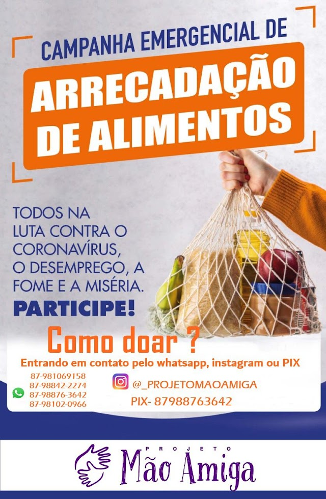 Em Afrânio, Projeto Mão Amiga realiza campanha emergencial para ajudar famílias afetadas pela pandemia.
