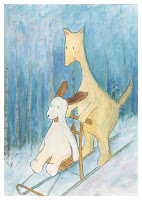 Postcard illustration of Hulmu Hukka and Haukku Spaniel sliding with a kicksled in a winter day