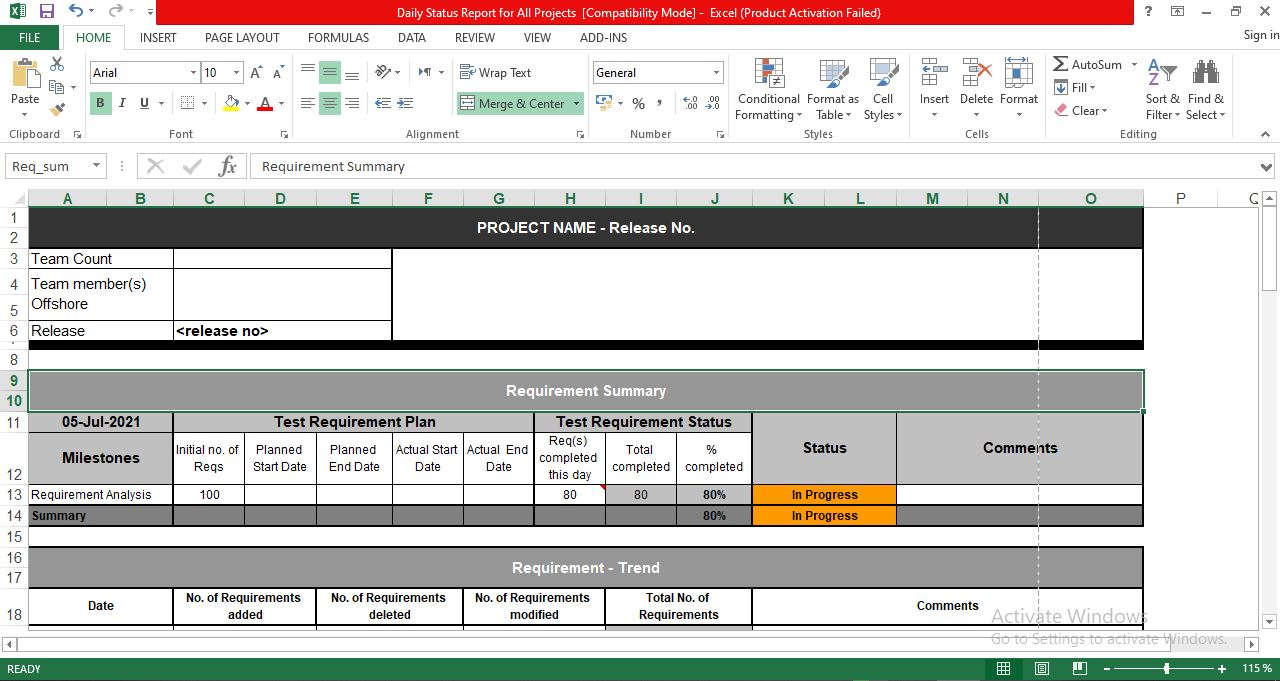 Project daily status report template excel