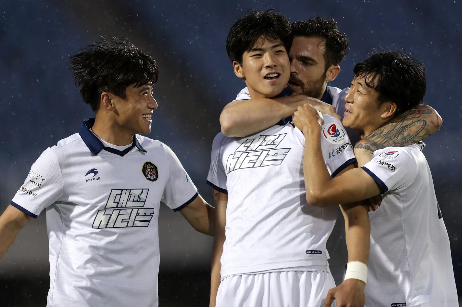 Daejeon Citizen's Park Inhyeok celebrates scoring against Busan IPark in K League 2 Round 17
