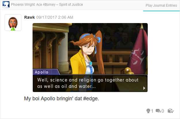 Phoenix Wright Ace Attorney Spirit of Justice Apollo science religion oil water