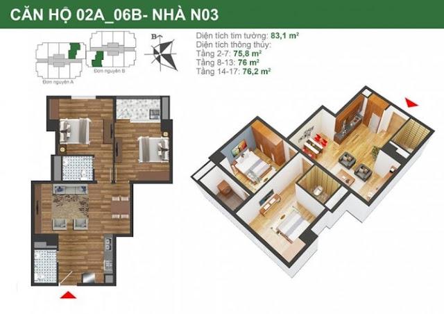 Mặt bằng căn hộ 02A-06B