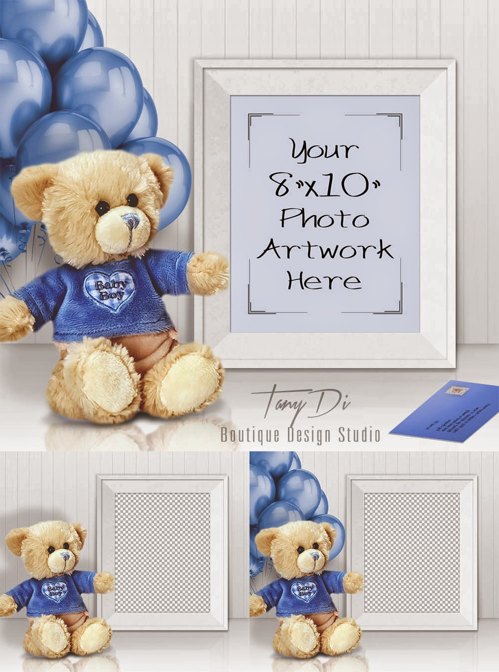 8x10 Portrait White Frame Mock Up Baby Boy Teddy Bear Etsy Shop